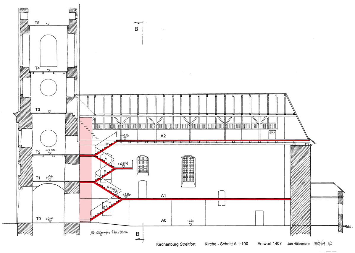 kb streitfort schnitt a kirche 1 100 entwurf b2 w kulturerbe kirchenburgen in siebenb rgen. Black Bedroom Furniture Sets. Home Design Ideas