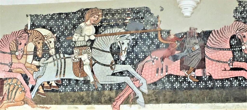 Ausschnitt aus der Legende des Heiligen Ladislaus als Wandmalerei in der Kirchenburg von Dersch