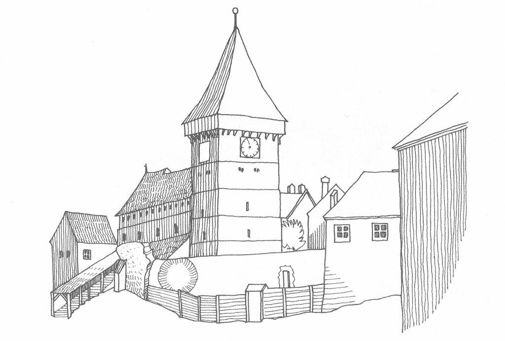 Zeichnung Zustand der Kirchenburg von Neudorf Mitte 19. Jh.;