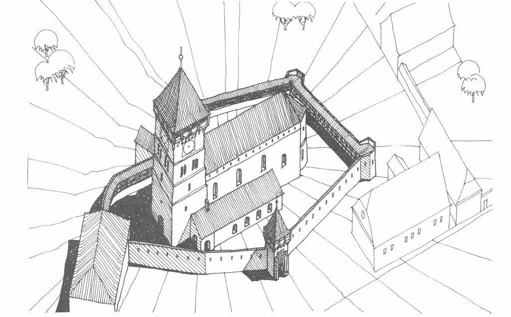 Isometrie der Kirchenburg in Neudorf bei Hermannstadt