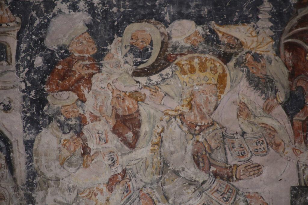 Wandmalerei Legende der Heiligen Katharina an der Nordwand der Kirche in Schmiegen; Siebenbuergen