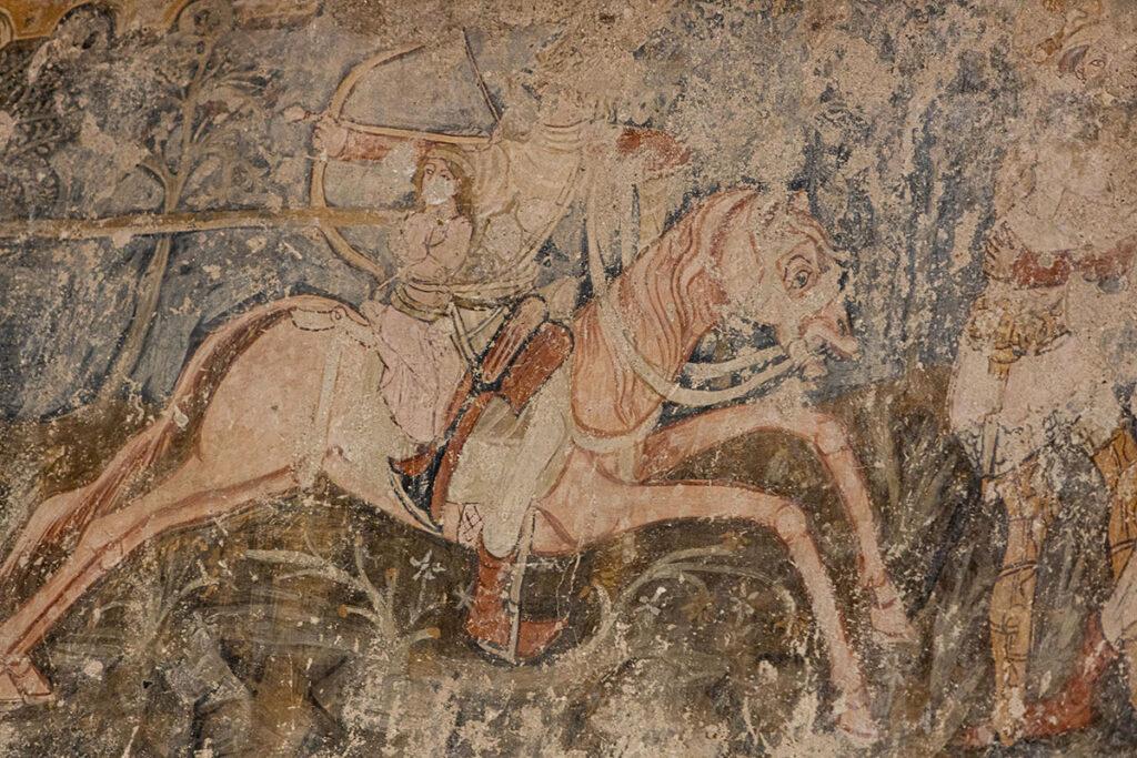 Ausschnitt aus der Legende des Heiligen Ladislaus als Wandmalerei in der Kirche von Schmiegen